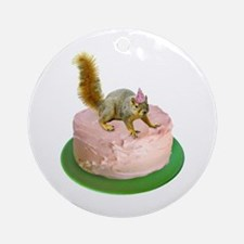 Squirrel on Cake Ornament (Round)