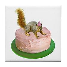 Squirrel on Cake Tile Coaster