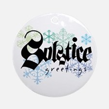 """Solstice Greetings"" White Ornament"