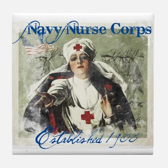 Vintage Navy Nurse Corps 1908 Tile Coaster