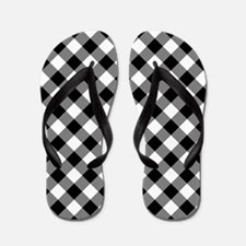 Black Gingham Flip Flops