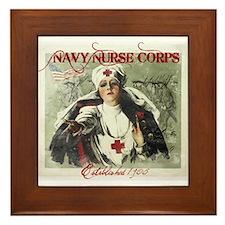 Navy Nurse Corps Vintage Red Framed Tile