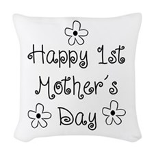 1st Mother's Day Woven Throw Pillow