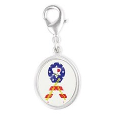 Remember Our Veterans Silver Oval Charm
