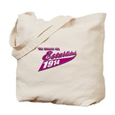 Established in 1914 birthday designs Tote Bag
