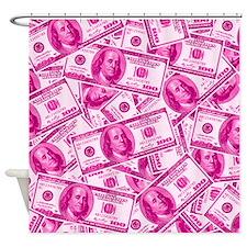 Pink Hundred Dollar Bill Pattern Shower Curtain