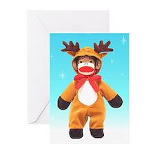Reindeer Sock Monkey Greeting Cards (Pk of 10)