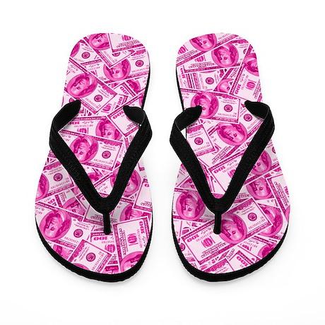 Pink Hundred Dollar Bill Pattern Flip Flops