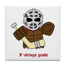Lil Vintage Hockey Goalie Tile Coaster