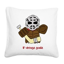 Lil Vintage Hockey Goalie Square Canvas Pillow