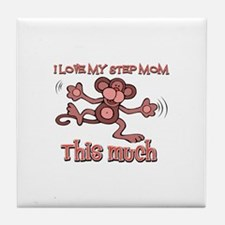 I love Step Mom this much Tile Coaster