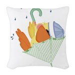 baby duck in umbrella.png Woven Throw Pillow