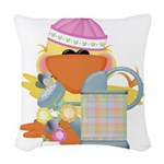 garden time baby girl duck.png Woven Throw Pillow