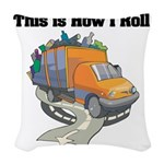 3-garbage truck.png Woven Throw Pillow