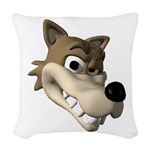 wolf smiling copy.jpg Woven Throw Pillow