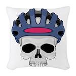 cycling skull copy.jpg Woven Throw Pillow