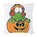 frog in pumpkin copy.png Woven Throw Pillow