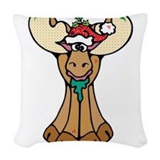 cute christmas moose.png Woven Throw Pillow