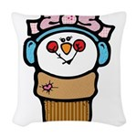 cute little girl snow cone.png Woven Throw Pillow