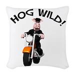 hog wild pig.png Woven Throw Pillow