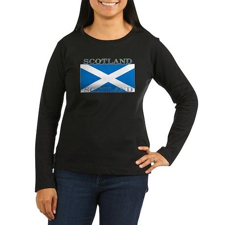 Scotland Scottish Flag Womens Sleeved Black Shirt