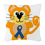 blue ribbon orange kitty cat copy.png Woven Throw
