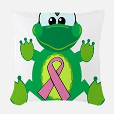 pink ribbon froggy.png Woven Throw Pillow