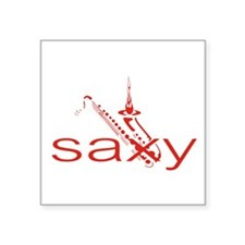 "Saxophone Square Sticker 3"" x 3"""