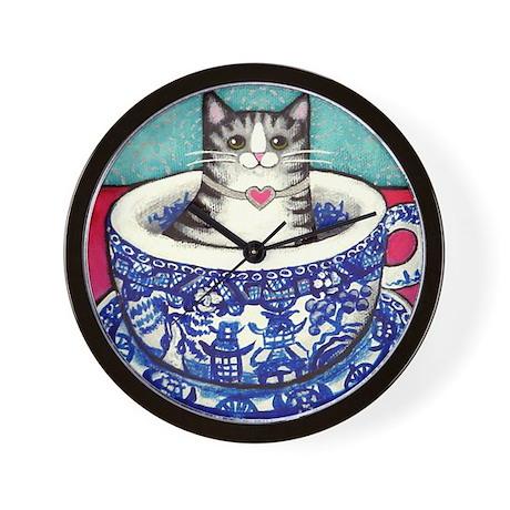 Grey Tabby CAT Kitten/Blue Willow Cup Wall Clock