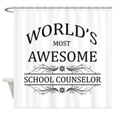 World's Most Awesome School Counselor Shower Curta
