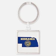 Nebraska Flag Square Keychain