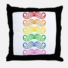 Rainbow Moustaches Throw Pillow