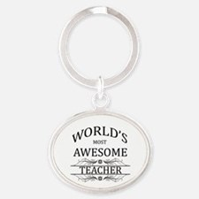 World's Most Awesome Teacher Oval Keychain