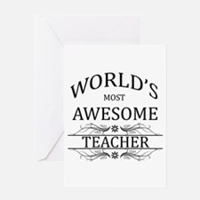 World's Most Awesome Teacher Greeting Card
