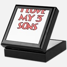 I LOVE MY 3 SONS IN PINK Keepsake Box