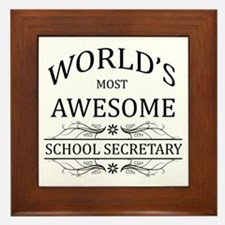 World's Most Awesome School Secretary Framed Tile