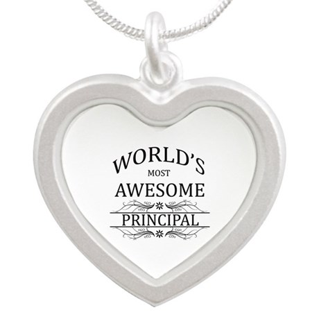 World's Most Awesome Principal Silver Heart Neckla