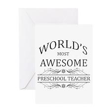World's Most Awesome Preschool Teacher Greeting Ca