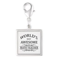 World's Most Awesome Math Teacher Silver Square Ch