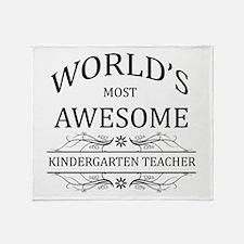 World's Most Awesome Kindergarten Teacher Throw Bl