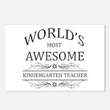World's Most Awesome Kindergarten Teacher Postcard