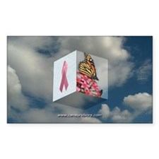 Pink Ribbon Rectangle Decal