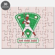 Personalized Red Baseball star player Puzzle