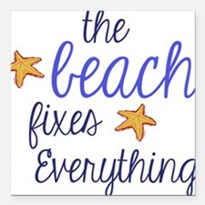 """The Beach Fixes Everything Square Car Magnet 3"""" x"""