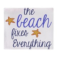The Beach Fixes Everything Throw Blanket