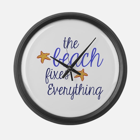 The Beach Fixes Everything Large Wall Clock