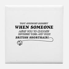 British Shorthair cat gifts Tile Coaster
