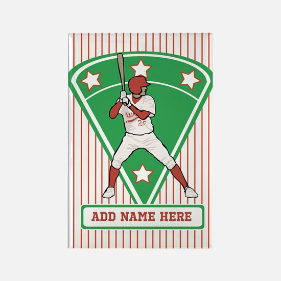 Personalized Red Baseball star player Rectangle Ma