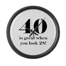 40th Birthday Humor Large Wall Clock