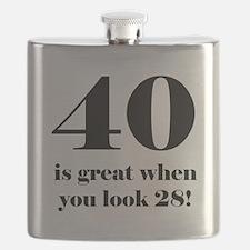 40th Birthday Humor Flask